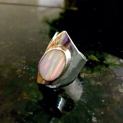 White Fire Opal Huge Handcrafted Silver Sterling .925 Ring Adjustable Size Ring
