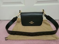 Coach leather crossbody black with gold hardware $149.00