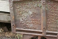 Antique Rare Cast Iron Cockshutt Plow Co.seed Drill End Farm Implement Ontario