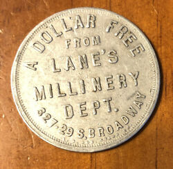 Antique Token Lanes Millinery Department One Dollar Off Trimmed Hat California