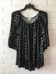 New Style And Co Women's On Off Shoulder Jersey Knit Top Multicolor 1x H9