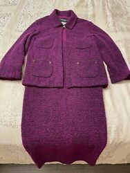 100auth Womens Vintage Womens Boucle Skirt Suit Size 38 Made In France