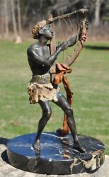 Blackamoor Playing A Harp Cold Painted Vienna Bronze By Franz Bergman