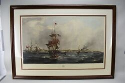 G. Chambers Art Hand Colored Etching The Port Of Liverpool Ships Sea Nautical