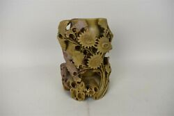 Antique Chinese Carved Green Soapstone Floral Vase