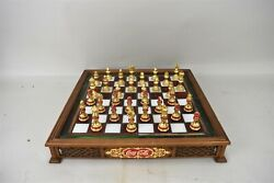 Franklin Mint Coca Cola Chess Glass Wood Board Pieces Set