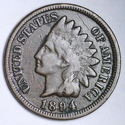 1894/94 Indian Head Small Cent Choice F/vf Free Shipping E104 Rc