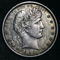 1894-s Barber Silver Quarter Choice Unc Free Shipping E245 Tchm