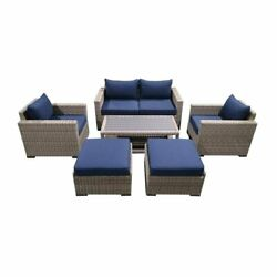 7-piece Wicker Rattan Outdoor Sectional Set With Blue Cushions And Coffee Table