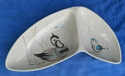 Vintage Mid-century Red Wing Pottery Bob White Quail 14 Divided Serving Dish