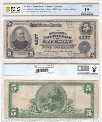 1902 5 Consolidated National Bank Of Tucson Az 4287 Pcgs Fine-15