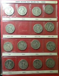 56 Different Liberty Walking Silver Half Dollars Incl 1916-s - Used Harco Folder