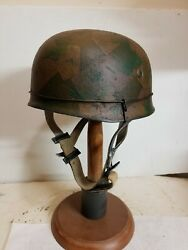 Wwii German M38 Paratrooper Normandy Helmet W/hand Aged Paint Work And Liner