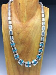Vintage Native American Silver Turquoise Inlay Bead Necklace - Graduated 73.5g