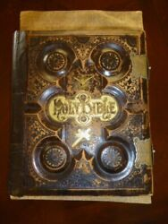 Holy Bible, Antique Late 1800s Leather Bound Old And New Testaments Large Rare