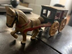 Antique Heavy Cast Iron Toy Horse And Fresh Milk Cart Stage Coach Hubley Vintage