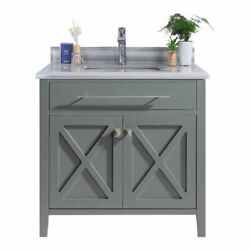 Laviva Wimbledon 36 Wood Cabinet With Stripes Marble Countertop In Gray/white