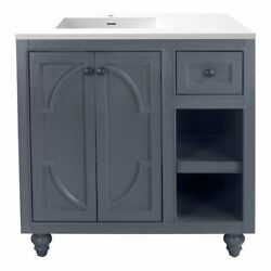 Laviva Odyssey 36 Wood Cabinet With Viva Stone Countertop In Maple Gray/white