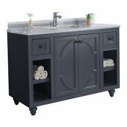 Laviva Odyssey 48 Wood Cabinet With Stripes Marble Countertop In Gray/white