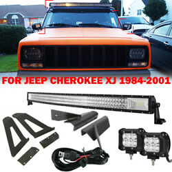 For 84-01 Jeep Cherokee Xj 50 Curved Led Light Bar+pair 4 Pods+mount Brackets