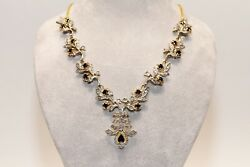 Vintage 18k Gold And Silver Natural Rose Cut Diamond And Sapphire Necklace
