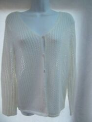 Relativity Cardigan Sweater M V-neck Open Loose See Through Crochet Knit Mint