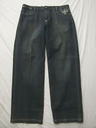 A Tiziano Urban Jeans 40x35 Stretch Flap Snap Pocket Embroider Distressed Mint