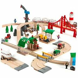 World 33766 Railway World Deluxe Set   Wooden Set For Kids Age 3 And Up Toy Train