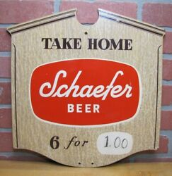 Take Home Schaefer Beer 6 For Old Double Sided Masonite Sign Bar Pub Tavern Ad