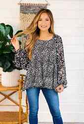 Umgee Balloon Sleeve Spotted Blouse Top Size M New