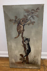 Nice Antique Victorian Oil Painting Two Cats On Tree Kittens Playing Kitty