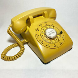 Vintage Bell Western Electric Rotary Dial Mustard Yellow Desk Phone
