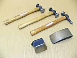 Vintage Auto Body Hammer And Anvil Set 3 Hammers 2 Anvils Used