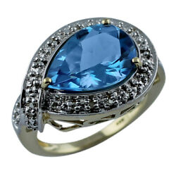 Blue Swiss Topaz Gemstone Jewelry 18k Yellow Gold Ring   A Precious Gift For Her