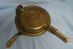 Antique Griswold No.8 American Cast Iron Waffle Iron Block Logo Low Base