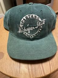 Vtg Michigan State Spartans The Game Circle Corduroy Snapback Hat 90's