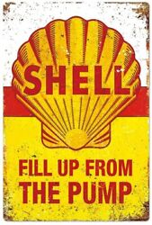 Shell Tin Sign Fill Up From The Pump Shellgas Oil And Gas Globe Corn Field