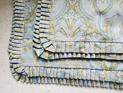 Andnbsp2 Peacock Alley Sage Green Sky Blue Paisley King Pillow Shams Pleated Edges