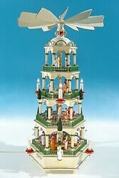 Large Christmas Pyramid In Historical Colours Electric Height Ca 27 5/8in New