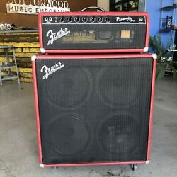 1997 Fender Prosonic Amplifier And Tone Master 4 X 12 Cabinet, Red Lizard Skin