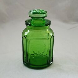Mini Canister Embossed Sunflower Small C1970andrsquos Green Glass Wheaton Nj
