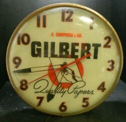 Vintage Lighted Gilbert Quality Papers Electric Clock Pam Clock Co. Gd-vg Cond
