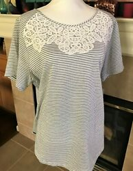 Croft And Barrow, Plus Size 1x, Pullover Cotton Knit Top In Stripes Nwt 30