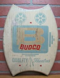 Budco Quality Theatres Old Drive-in Movie Theater Advertising Sign Wooden Plaque