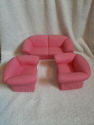Vintage 1988 Pink Vinyl Barbie Doll Chair[2] And Couch Play Furniture