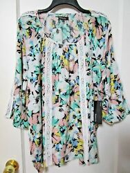 Nwt Women's Relativity Turquoise Floral 3/4 Sleeve Blouse Size 2x - Msrp 58