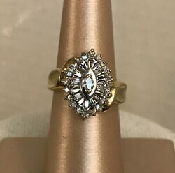 10k Yellow Gold Ring With Multiple Small Diamonds Vintage Antique Size 7