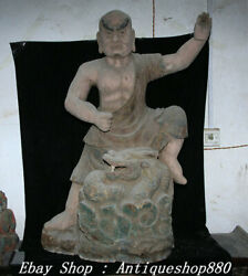 113cm Old Dynasty Wood Lacquerware Dragon Subduing Arhat Luohan Buddha Statue
