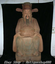 37 Old China Dynasty Wood Lacquerware Money Wealth Yuanbao God Mammon Statue