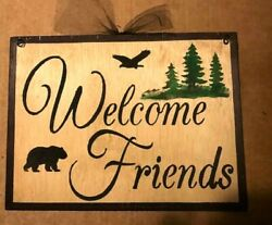 Rustic Farmhouse Signs Decor Black Bears Country Wooden Wall Hanging Sign Board